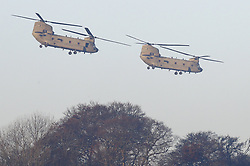 © Licensed to London News Pictures. 04/12/2019. Watford, UK. Two  Chinook helicopters take off from The Grove Hotel where NATO leaders are meeting. World leaders are attending a series of events over the two day NATO summit which will mark the 70th anniversary of the alliance of nations. Photo credit: Peter Macdiarmid/LNP