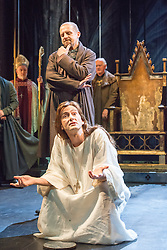 © Licensed to London News Pictures. 16/10/2013. EMBARGOED until 19.00 hrs 17/10/2013. The Royal Shakespeare Company presents Richard II, starring David Tennant as Richard.  Richard II is the first production in a new cycle of Shakespeare's History plays, directed by RSC Artistic Director Gregory Doran, to be performed over the coming seasons. Picture features Nigel Lindsey (Bolingbroke, Henry IV) & David Tennant (Richard). Photo credit: Tony Nandi/LNP.
