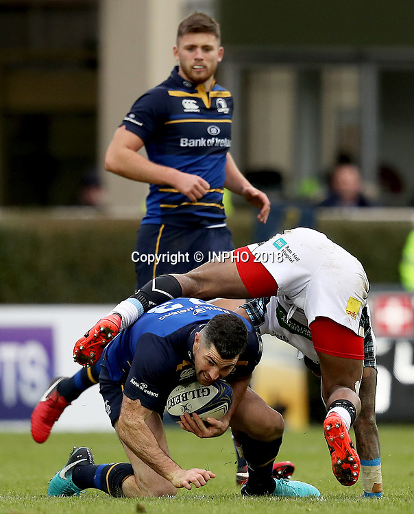 European Rugby Champions Cup Round 5, RDS, Dublin 14/1/2018<br /> Leinster vs Glasgow Warriors<br /> Leinster's Rob Kearney with Niko Matawalu of Glasgow Warriors<br /> Mandatory Credit &copy;INPHO/Tommy Dickson