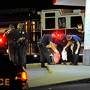 Troy police investigate a reported shooting on Brundidge Boulevard in Troy, Ala., late Saturday, Aug. 30, 2014.(Photo/Thomas Graning)