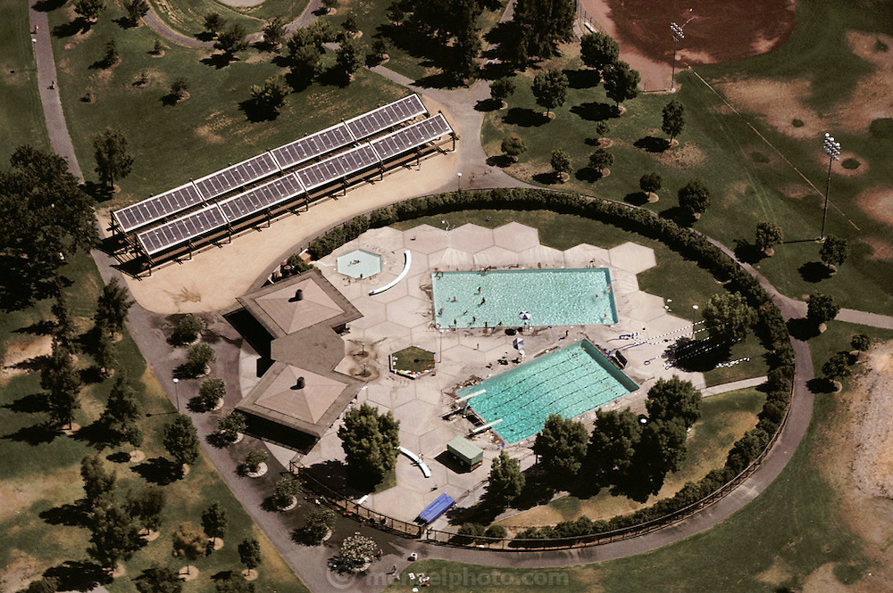 Solar Energy: Swimming Pool in Davis, California that is heated by solar power. (1981).