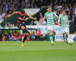Queen Park Rangers' Charlie Austin shoots outside the box but fails to scorew. - Photo mandatory by-line: Alex James/JMP - Tel: Mobile: 07966 386802 21/09/2013 - SPORT - FOOTBALL - Huish Park - Yeovil - Yeovil Town V Queens Park Rangers - Sky Bet Championship