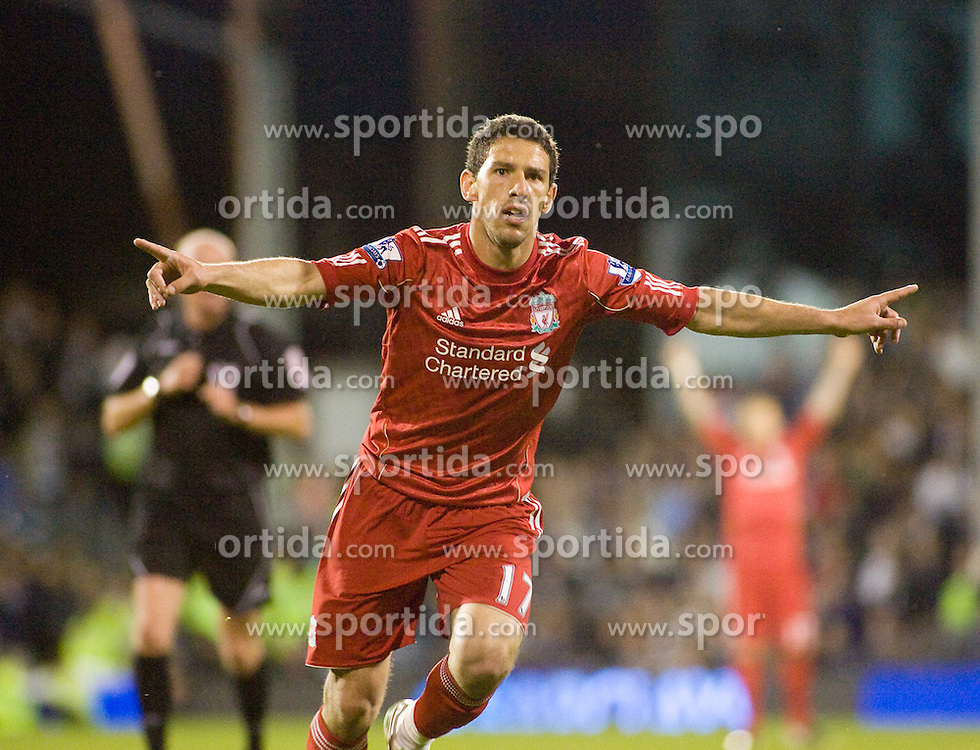 09.05.2011, Craven Cottage, London, ENG, PL, FC Fulham vs FC Liverpool, im Bild Liverpool's Maxi Rodriguez celebrates in his goal and Liverpool's fourth in the 5-1 win over Fulham, English Premier League, Fulham v Liverpool,  Craven Cottage, London, 09/05/2011. EXPA Pictures © 2011, PhotoCredit: EXPA/ IPS/ Mark Greenwood +++++ ATTENTION - OUT OF ENGLAND/UK and FRANCE/FR +++++
