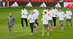 MANCHESTER, ENGLAND - Wednesday, March 16, 2016: Liverpool's captain Jordan Henderson and Adam Lallana during a training session at Old Trafford ahead of the UEFA Europa League Round of 16 2nd Leg match against Manchester United. (Pic by David Rawcliffe/Propaganda)