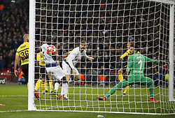 BRITAIN-LONDON-FOOTBALL-UEFA CHAMPIONS LEAGUE-TOTTENHAM VS DORTMUND.(190213) -- LONDON, Feb.13, 2019  Tottenham Hotspur's Fernando Llorente (C) scores the third goal during the UEFA Champions League Round of 16 1st Leg match between Tottenham Hotspur and Borussia Dortmund at Wembley Stadium in London, Britain on Feb. 13, 2019. Tottenham Hotspur won 3-0.  FOR EDITORIAL USE ONLY. NOT FOR SALE FOR MARKETING OR ADVERTISING CAMPAIGNS. NO USE WITH UNAUTHORIZED AUDIO, VIDEO, DATA, FIXTURE LISTS, CLUB/LEAGUE LOGOS OR ''LIVE'' SERVICES. ONLINE IN-MATCH USE LIMITED TO 45 IMAGES, NO VIDEO EMULATION. NO USE IN BETTING, GAMES OR SINGLE CLUB/LEAGUE/PLAYER PUBLICATIONS. (Credit Image: © Xinhua via ZUMA Wire)