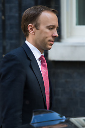 Paymaster General Matt Hancock leaves Prime Minister David Cameron's final cabinet meeting following Theresa May's anticipated takeover as Leader of the Conservative Party and Prime Minister on Wednesday 13th July 2016.