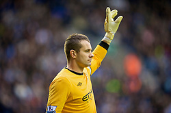 WIGAN, ENGLAND - Sunday, October 18, 2009: Manchester City's goalkeeper Shay Given in action against Wigan Athletic during the Premiership match at the JJB Stadium. (Pic by David Rawcliffe/Propaganda)