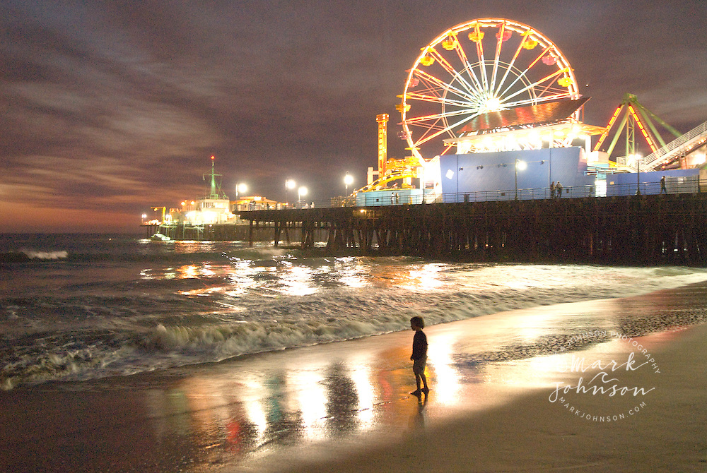 Santa Monica Pier At Night Beach Los Angeles California
