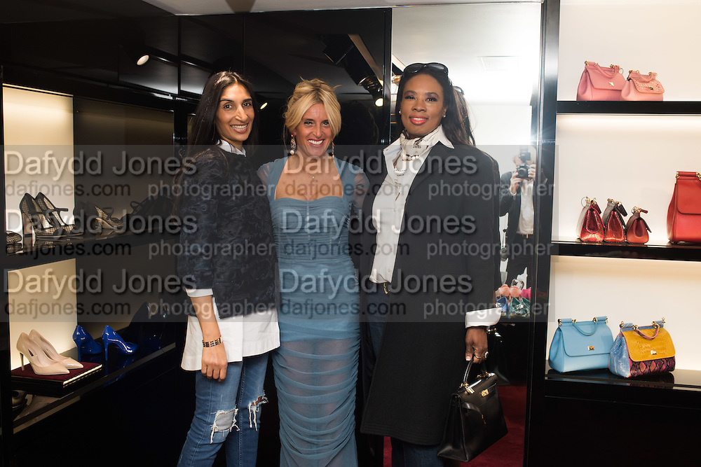 NOREEN GOODWIN; ANNA SCOLARO; PATRICIA YUNGHANNS, Anna Scolaro hosts a charity shopping event at  Dolce and Gabbana, 175 Sloane St. London. In aid of TeamFox.org for Parkinsons. 10 February 2016