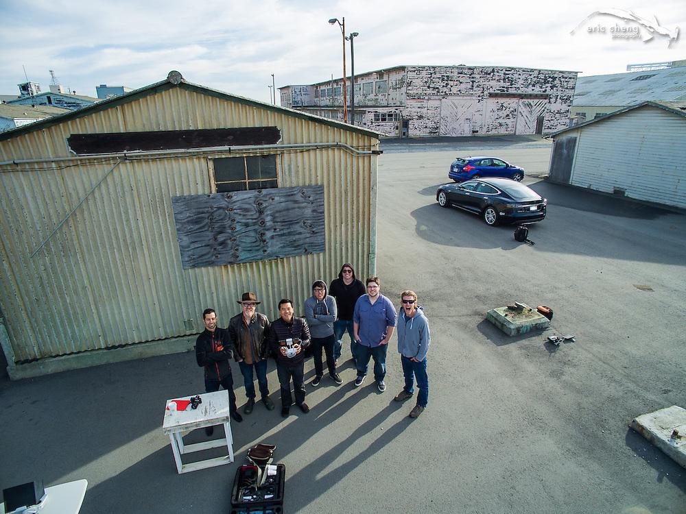 Aerial group shot! w/Sam Cossman, Adam Savage, Eric Cheng, Norman Chan, Joey Fameli, Eric, and Duncan Clark