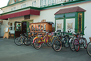 Beach Cruisers Parked at Newport Beach Brewing Company Restaurant and Pub