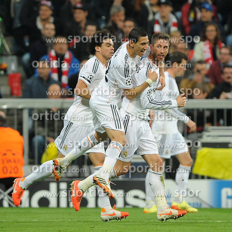 29.04.2014, Allianz Arena, Muenchen, GER, UEFA CL, FC Bayern Muenchen vs Real Madrid, Halbfinale, Ruckspiel, im Bild Jubel bei Sergios Ramos (Real Madrid) nach seinem Tor zum 0:2<br /> vl: Pepe (Real Madrid), Angel di Maria (Real Madrid), Sergios Ramos (Real Madrid) und Gareth Bale (Real Madrid) // during the UEFA Champions League Round of 4, 2nd Leg Match between FC Bayern Munich vs Real Madrid at the Allianz Arena in Muenchen, Germany on 2014/04/30. EXPA Pictures &copy; 2014, PhotoCredit: EXPA/ Eibner-Pressefoto/ Stuetzle<br /> <br /> *****ATTENTION - OUT of GER*****