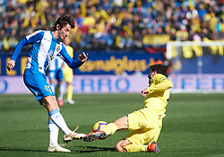 February 3, 2019 - Villarreal, Castellon, Spain - Gerard Moreno of Villarreal and Esteban Granero of RCD Espanyol during the La Liga match between Villarreal and Espanyol at Estadio de la Ceramica on February 3, 2019 in Vila-real, Spain. (Credit Image: © Maria Jose Segovia/NurPhoto via ZUMA Press)