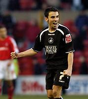 Photo: Leigh Quinnell.<br /> Nottingham Forest v Swansea. Coca Cola League 1. 11/02/2006. Swanseas Leon Britton celebrates the win.