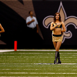 August 27, 2010; New Orleans, LA, USA; New Orleans Saints Saintssations cheerleaders stand during the national athem prior to kickoff of a preseason game at the Louisiana Superdome. The New Orleans Saints defeated the San Diego Chargers 36-21. Mandatory Credit: Derick E. Hingle