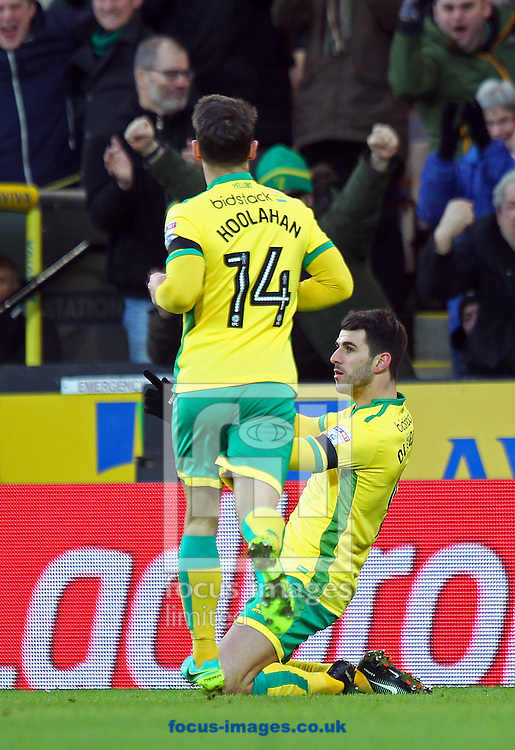 Nelson Oliveira of Norwich celebrates scoring his sides 1st goal during the Sky Bet Championship match at Carrow Road, Norwich<br /> Picture by Paul Chesterton/Focus Images Ltd +44 7904 640267<br /> 02/01/2017