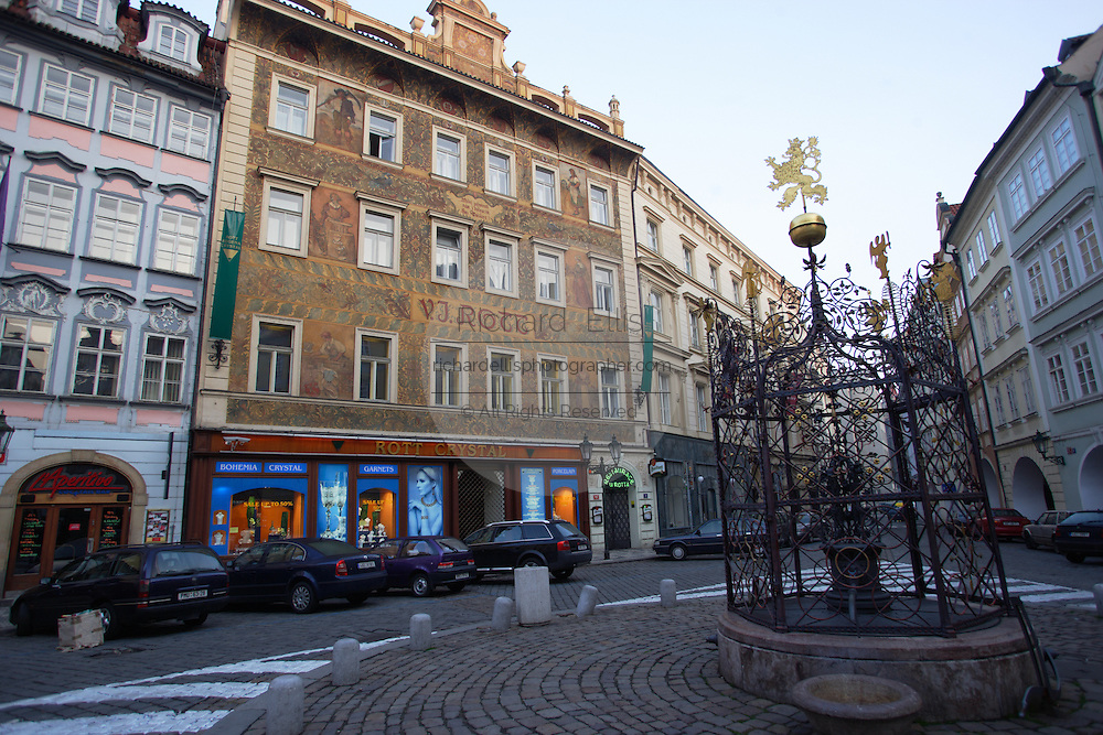 Prague's Rott Hotel in the Lesser Square (Male Namesti) in the very heart of the Old Town of Prague. The building was first built in 1855 and features a Renaissance fountain in square.