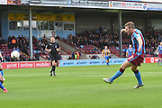 Scott Laird of Scunthorpe United shoots at goal during the Sky Bet League 1 match between Scunthorpe United and Shrewsbury Town at Glanford Park, Scunthorpe, England on 17 October 2015. Photo by Ian Lyall.