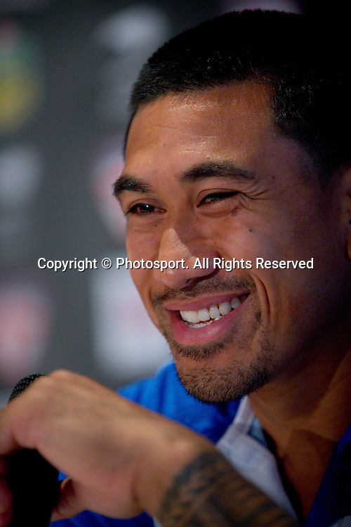 Samoa captain David Fa'alogo (R) during a preview 4 Nations press conference, Brisbane Australia on October 24, 2014.