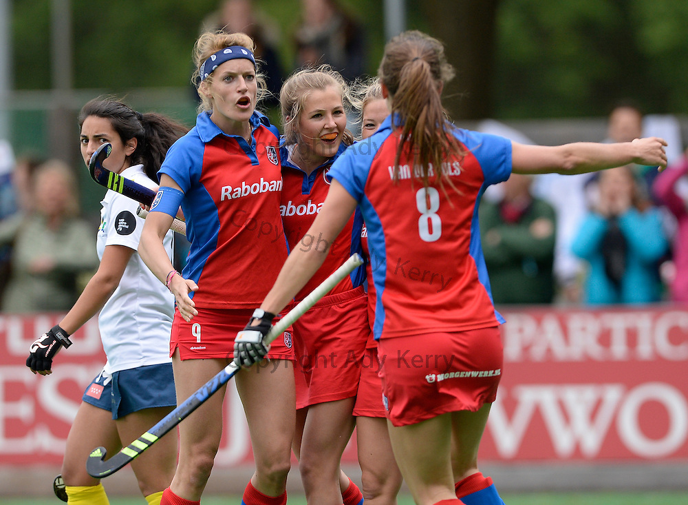SCHC vs Campo de Madrid at SCHC, Bilthoven, Utrecht, Netherlands,14th May 2016.<br />SCHC&rsquo;s Xan de Waard (C) celebrates scoring what turned out to be the winning goal against Madrid.