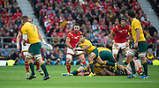 Twickenham, Great Britain, Australia's Will GENIA, throwing a pass out from the break down, during the Pool A game, Australia vs Wales.  2015 Rugby World Cup,  Venue, Twickenham Stadium, Surrey, ENGLAND.  Saturday  10/10/2015.   [Mandatory Credit; Peter Spurrier/Intersport-images]