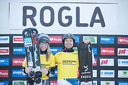Current Leaders: Ledecka Ester and Galmarini Nevin FIS snowboarding world cup race in Rogla (SI / SLO) | GS on January 20, 2018, in Jasna Ski slope, Rogla, Slovenia. Photo by Urban Meglic / Sportida