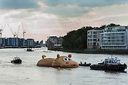 'HippopoThames' arrives at its destination - a 21-metre-long hippo sculpture, by Dutch artist Florentijn Hofman (best known for his Rubber Duck installation) is towed upriver to Nine Elms on the South Bank. It is his first UK commission Stepped access to the foreshore, near St George's Tower,  will be available for three hours a day at low tide throughout September.