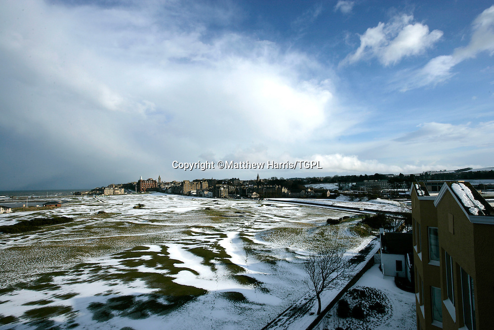 View from The Old Course Hotel of St Andrews Old Course as snow lies on the ground in winter of 2006,St Andrews, Fife,Scotland.
