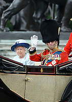 Queen Elizabeth; Prince Philip Duke of Edinburgh,Trooping the Colour, Buckingham Palace, London UK, 14 June 2014, Photo by Mike Webster
