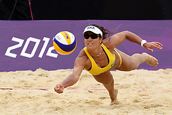 Maria Antonelli of Brazil during the Women's Beach Volleyball Preliminary Phase Pool E match between Brazil and Germany held at the Horse Guards Parade stadium in London as part of the London 2012 Olympics on the 31st July 2012.Photo by Ron Gaunt/SPORTZPICS