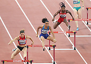 Lea Sprunger (SUI), Sydney McLaughlin (USA) and Aminat Jamal (BRN), run in a women's 400m hurdles semifinalduring the IAAF World Athletics Championships, Wednesday, Oct 2, 2019, in Doha, Qatar. McLaughlin won in 53.81 for the top time.  (Claus Andersen/Image of Sport)