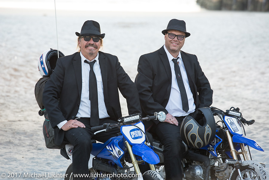 Bean're and his riding partner Tim Bacon Ford ready to take off from Daytona Beach for their cross-country record breaking adventure during Daytona Beach Bike Week. FL. USA. Sunday March 19, 2017. Photography ©2017 Michael Lichter.