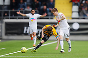 GOTHENBURG, SWEDEN - APRIL 14: Rasmus Lindgren of BK Hacken and Oliver Berg of Dalkurd FF during the Allsvenskan match between BK Hacken and Dalkurd FF at Bravida Arena on April 14, 2018 in Gothenburg, Sweden. Photo by Nils Petter Nilsson/Ombrello ***BETALBILD***
