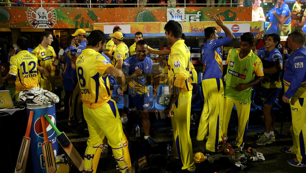Chennai Superkings celebrates after winning the eliminator match of the Pepsi Indian Premier League Season 2014 between the Chennai Superkings and the Mumbai Indians held at the Brabourne Stadium, Mumbai, India on the 28th May  2014<br /> <br /> Photo by Sandeep Shetty / IPL / SPORTZPICS<br /> <br /> <br /> <br /> Image use subject to terms and conditions which can be found here:  http://sportzpics.photoshelter.com/gallery/Pepsi-IPL-Image-terms-and-conditions/G00004VW1IVJ.gB0/C0000TScjhBM6ikg