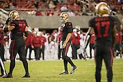 San Francisco 49ers quarterback Blaine Gabbert (2) reacts to missed plays against the Arizona Cardinals at Levi's Stadium in Santa Clara, Calif., on October 6, 2016. (Stan Olszewski/Special to S.F. Examiner)