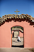 Catholic News Service journalist Tyler Orsburn records images at  La Purisima Mission State Historic Park in Lompoc, Calif., May 15, 2015. © 2015 Nancy Wiechec