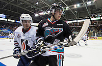 KELOWNA, CANADA - SEPTEMBER 25: Kole Lind #16 of Kelowna Rockets is checked by Nick Chyzowski #16 of Kamloops Blazers on September 25, 2015 at Prospera Place in Kelowna, British Columbia, Canada.  (Photo by Marissa Baecker/Shoot the Breeze)  *** Local Caption *** Kole Lind; Nick Chyzowski;