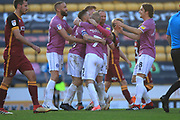 GOAL Ian Henderson celebrates scoring his second penalty 0-2  during the EFL Sky Bet League 1 match between Bradford City and Rochdale at the Northern Commercials Stadium, Bradford, England on 20 October 2018.