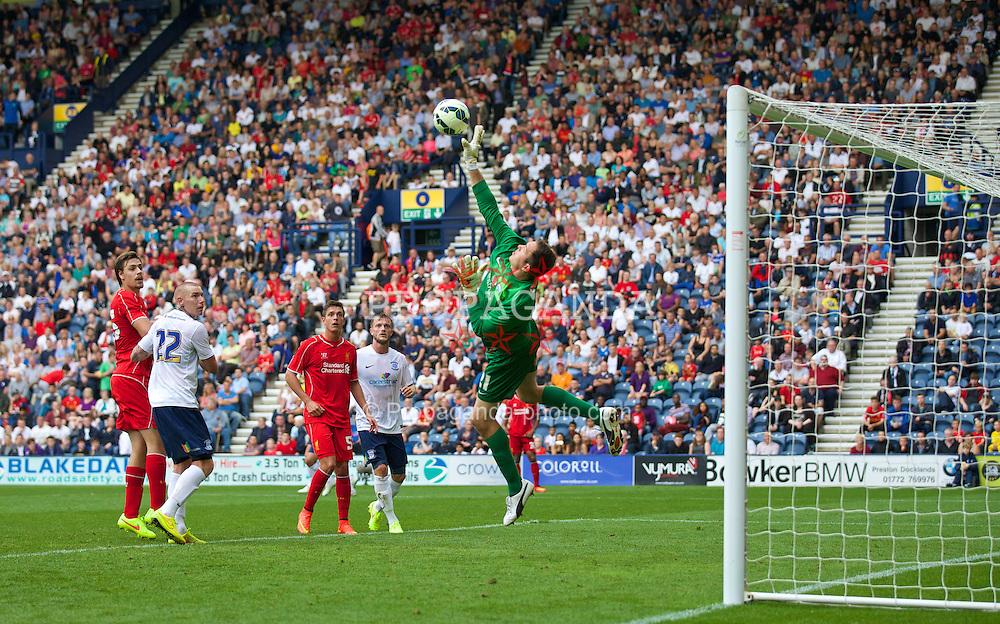 PRESTON, ENGLAND - Saturday, July 19, 2014: Preston North End's goalkeeper Thorsten Stuckmann makes a save during a preseason friendly match against Liverpool at Deepdale Stadium. (Pic by David Rawcliffe/Propaganda)