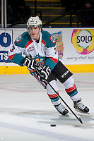 KELOWNA, CANADA - MARCH 8: Riley Stadel #3 of the Kelowna Rockets skates with the puck against the Tri-City Americans on March 8, 2014 at Prospera Place in Kelowna, British Columbia, Canada.   (Photo by Marissa Baecker/Getty Images)  *** Local Caption *** Riley Stadel;