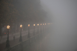 © London News Pictures. 11/12/2013. London, UK.  The Embankment at south bank, opposite the houses of Parliament, shrouded in fog early morning in central London on December 11, 2013. Photo credit: Ben Cawthra/LNP