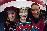 KELOWNA, CANADA - SEPTEMBER 22: Kelowna Rockets' fans smile for the camera on home opener against the Kamloops Blazers on September 22, 2017 at Prospera Place in Kelowna, British Columbia, Canada.  (Photo by Marissa Baecker/Shoot the Breeze)  *** Local Caption ***