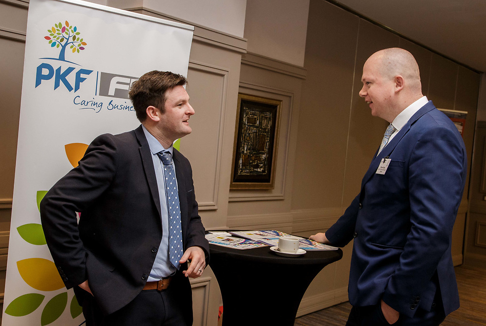 Michael Kennedy, PKF, talking with Bryan Gray, Bibby Financial Services Ireland, at the &lsquo;All Facts, No Noise. Practical Help to Navigate Brexit&rsquo; Conference, at the Radisson Blu Hotel, Sligo.  <br /> Photo: James Connolly<br /> 01MAY18