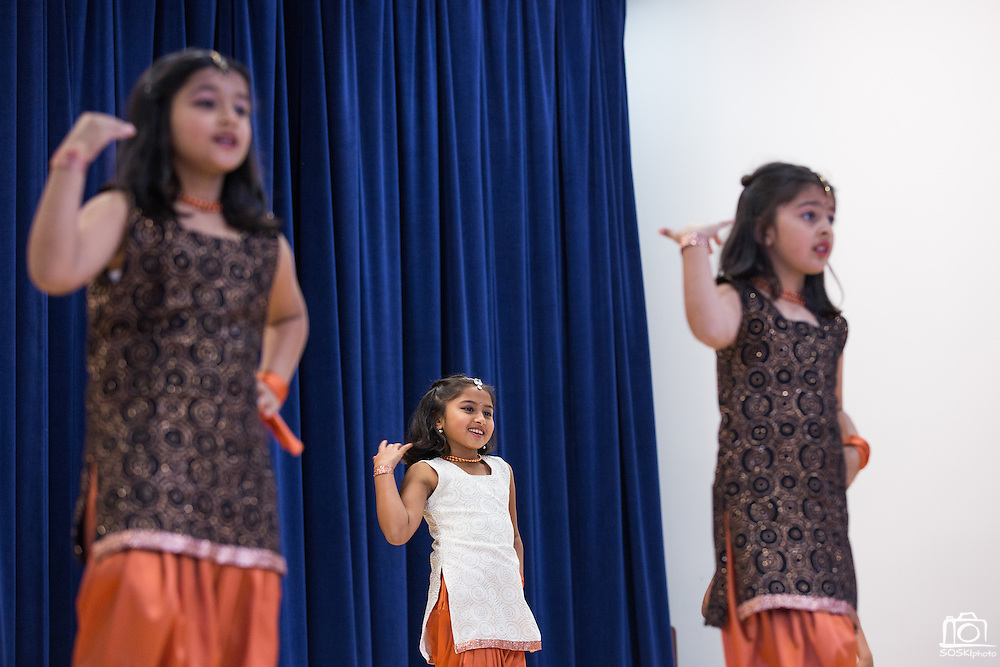 Students dance during a talent show at the Pomeroy Multicultural Festival at Pomeroy Elementary School in Milpitas, California, on April 25, 2015. (Stan Olszewski/SOSKIphoto)