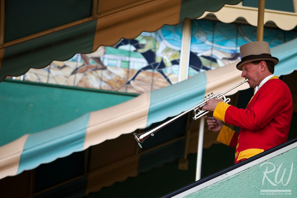 Bugler, Jay Cohen Practicing at Santa Anita Racetrack, Arcadia, California