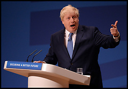 Image ©Licensed to i-Images Picture Agency. 30/09/2014. Birmingham, United Kingdom. London Mayor Boris Johnson delivering his speech at on day 3 of the Conservative Party Conference. Picture by Andrew Parsons / i-Images