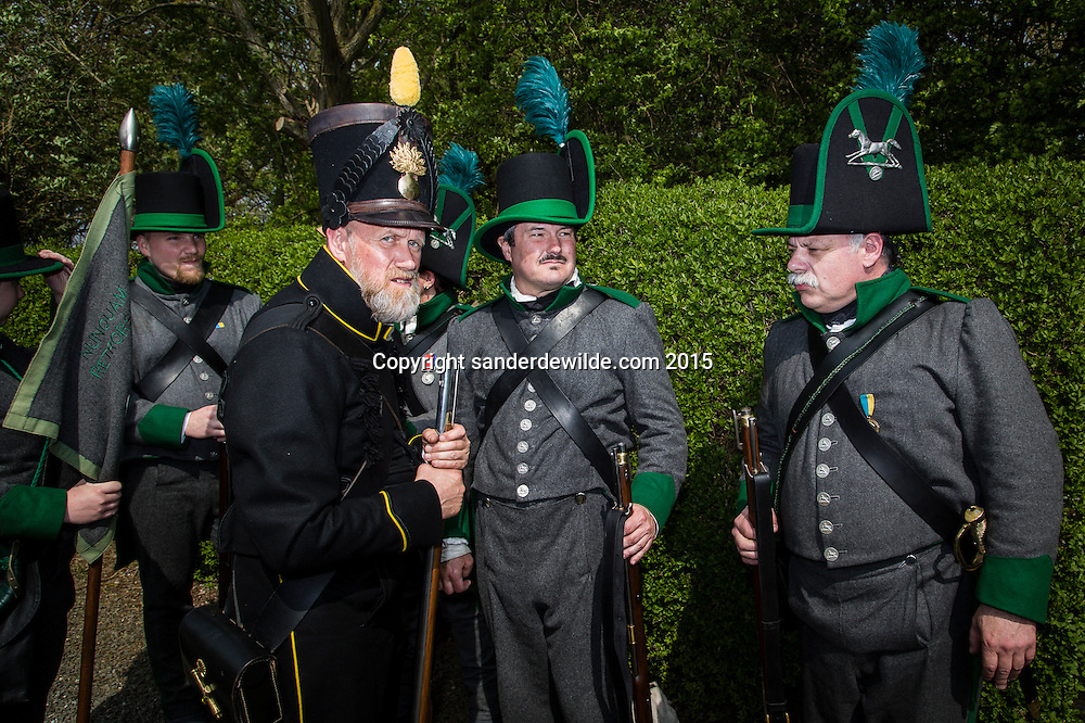 Celebration at the monument of the Hannovers in Plancenoit,  WAterloo on 24th april 2015.The ambassador of Germany to Belgium dr. Eckart Cuntz and a group of enactors and Germans placed flowers. On the monument is written: To the memory of their companions in arms who gloriously fell on the memorable 18th of jun 1815.<br /> This monument is erected by the officers of the Kings German legion.