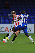Rob Dickie and  Kudus Oyenuga during the The FA Cup match between Hartlepool United and Cheltenham Town at Victoria Park, Hartlepool, England on 7 November 2015. Photo by Antony Thompson.