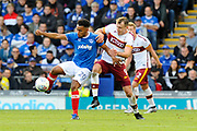 Nathan Thompson (20) of Portsmouth battles for possession with Charlie Wyke (9) of Bradford City during the EFL Sky Bet League 1 match between Portsmouth and Bradford City at Fratton Park, Portsmouth, England on 28 October 2017. Photo by Graham Hunt.