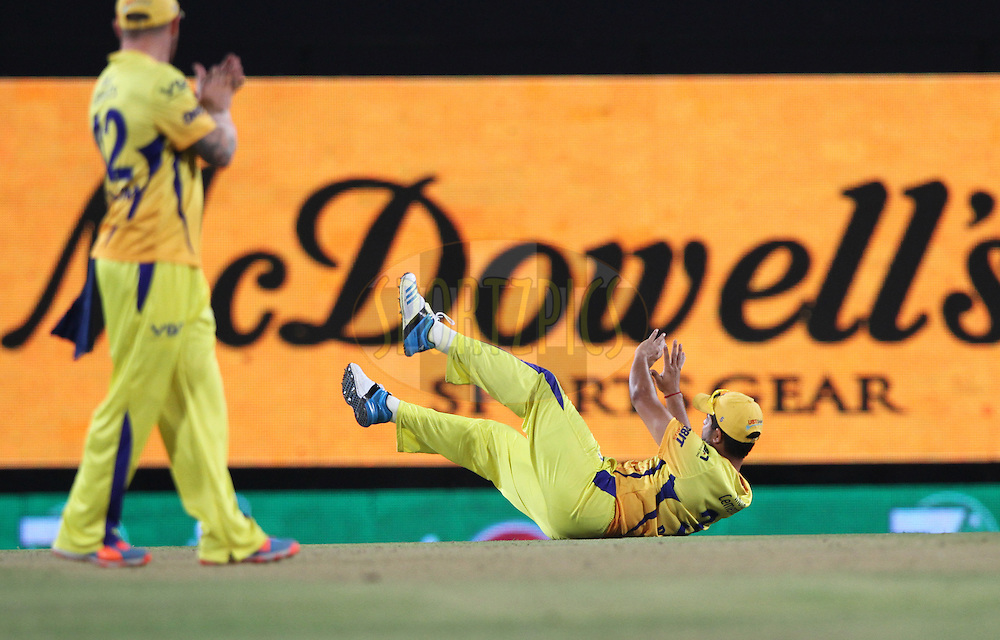 Suresh Raina of The Chennai Superkings during match 21 of the Pepsi Indian Premier League Season 2014 between the Chennai Superkings and the Kolkata Knight Riders  held at the JSCA International Cricket Stadium, Ranch, India on the 2nd May  2014<br /> <br /> Photo by Deepak Malik / IPL / SPORTZPICS<br /> <br /> <br /> <br /> Image use subject to terms and conditions which can be found here:  http://sportzpics.photoshelter.com/gallery/Pepsi-IPL-Image-terms-and-conditions/G00004VW1IVJ.gB0/C0000TScjhBM6ikg